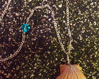 Sunrise Shell Necklace with Swarovski Crystals on beautiful Sterling Silver Chain