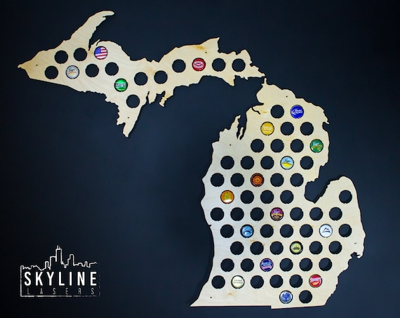 Michigan Beer Cap Map MI Glossy Beer Bottle Cap Map Holder - Michigan bottle cap map