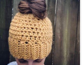Melissa Messy Bun Hat(Childrens/Adult,women's hat, messy bun beanie, bun hat, winter hat, crochet hat, girls bun beanie, ponytail hat