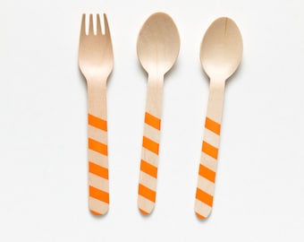 Orange HALLOWEEN Stripes - 20 Wooden Utensils - Choose Forks or Spoons