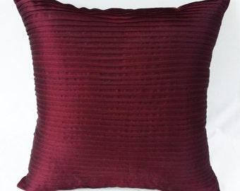 burgundy pintuck  pillow   burgundy   throw pillow.  burgundy  cushion cover 20inch custom made