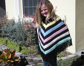 Knitted Poncho, Girls Large - Black with Bright Pastels