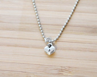 hand stamped necklace   tiny heart initial