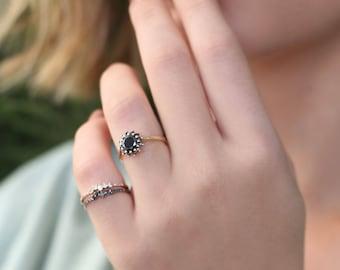 Black diamond ring, black halo ring, black diamond engagement ring, diana diamond ring, prong ring, gold ring, diamond ring, gift for her