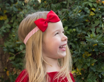 Red Christmas Bow, Candy Cane Headband, Candy Cane Hair Bow, Red Hair Bow, Red Headband, Red Bow Headband, Christmas Headband, Christmas Bow