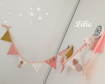 Coral, mustard, gold and pale pink Bunting
