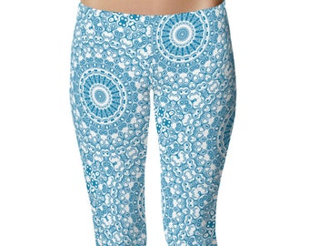 Yoga Print Tights, Blue Yoga Leggings, Cerulean Blue Leggings, Blue and White Printed Leggings