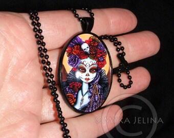 Dalia Suger Skull Dia De Muertos Flower Mictecacihuatl Black Glass Cameo Necklace Calaca