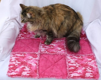 Pink Cat Bed, Pet Bedding, Designer Pet Bed, Colorado Catnip Bed, Fabric Cat Bed, Crate Mat, Travel Pet Mat, Pink Camo Pet Bed, Cat Mat