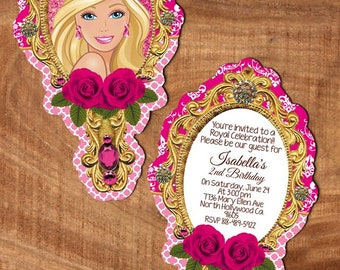 digital barbie invitation, tag, water label, ziploc card and thank you card  party  print as many as u need personalized jpg file