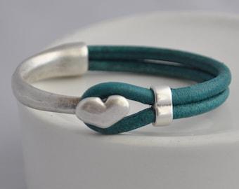 Dark Teal Heart Half Cuff Bracelet Bangle Women's Bracelet with Hook and Loop
