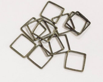 50 pcs of Antique brass square links 12mm