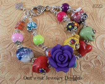 Chunky Day of the Dead Bracelet with Howlite Turquoise Sugar Skulls and Lampwork No. 222