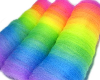 Neon Rainbow batts - 100% Merino - 2 oz. (57g) total - Fluorescent - GLOWS under Blacklight - Made to Order