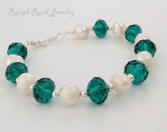 Mother's Day SALE! - Freshwater Pearl and Teal Crystal Bracelet, Teal and Pearl Bracelet, Teal Bracelet