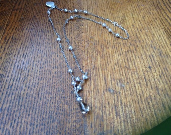 Handcrafted Gray Freshwater Pearl and Quarz Neclace
