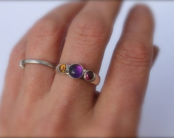 Birthstone Ring Three stone 6mm center 4mm side stones Mom Silver Mothers Ring Amethyst ultra violet Grandma Sisters Garnet topaz peridot