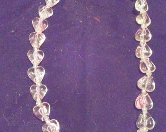 Glass Breast Cancer Necklace With Heart Beads And Ribbons