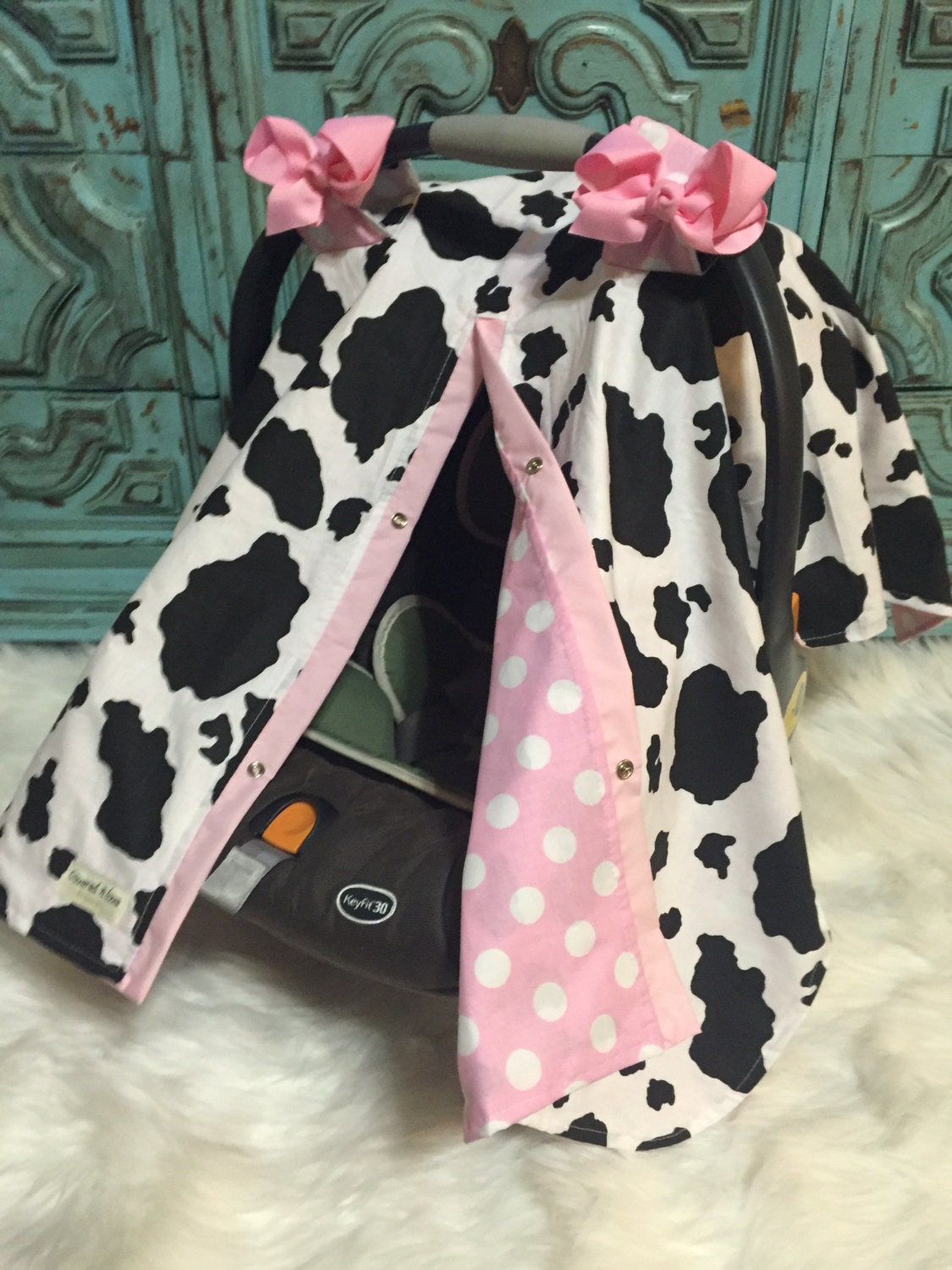 infant car seat cover Cow print / car seat cover / nursing cover ...