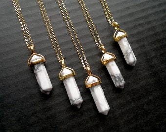 Gold Crystal Point Pendant Necklace Howlite Necklace White Stone Necklace Howlite Jewelry Natural Stone Chain Crystal Tusk Tooth Boho White