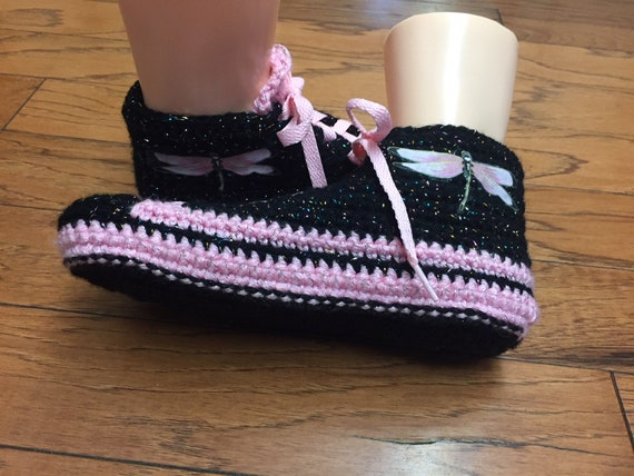 slippers 331 sneaker pink dragonfly shoe 10 dragonfly shoes black slippers crochet Womens sneakers dragonfly tennis slippers 8 Crocheted wWxABqtCTE