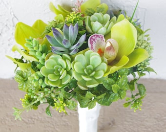 Small Wedding Natural Touch Succulents and Orchids Green Silk Flower Bride Bouquet
