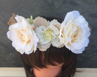 Burlap Crown, Rose Crown, Wedding Crown, Festival Crown, Birthday Crown, Flower Crown, Rustic Crown, Coachella head wear