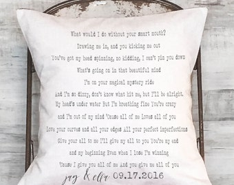 Custom Song Lyrics Cotton Anniversary Gift Wedding Gift Personalized Song Lyrics Pillow Cover