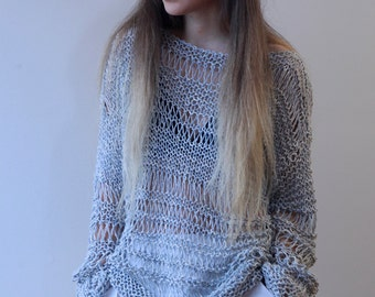 Gray loose knit grunge sweater, oversized hand knitted grey cotton sweater, loose weave gray summer sweater, ready to ship