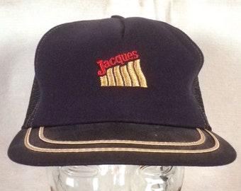 vtg 80s farmer Jacques Seeds Farm Trucker Hat Cap Snapback mesh back navy blue