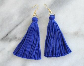 Blue Tassel Earrings, Tassel Earrings, Dangle Earrings, Bohemian Earrings, Long Tassel Earrings, Bridesmaid Gift, Cobalt Tassel