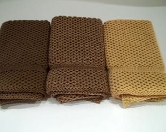 Dishcloths Knit in Cotton in Acorn, Buttercup and Acorn/Goldenrod/Rice, Knit Dish Cloth, Knit Wash Cloth, Cotton Dishcloth, Kitchen