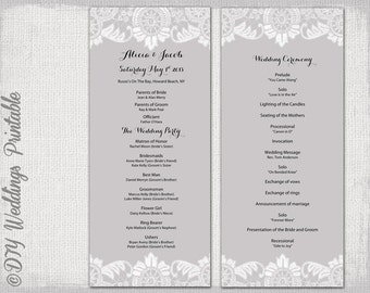 """Wedding program template gray """"Antique Lace"""" wedding order of ceremony Silver gray DIY printable order of service -YOU EDIT instant download"""