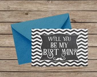 Will You Be My Best Man Card - Moustache The Question