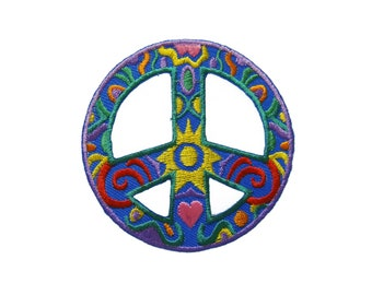 Peace Sign Symbol Hippy Boho Tattoo Embroidered Applique Iron on Patch