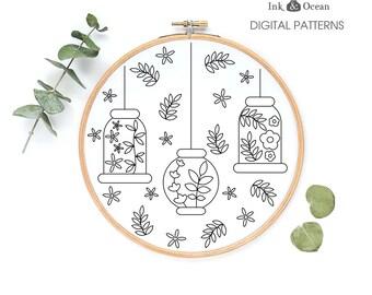 Floral lantern, oriental, Japanese sampler Digital hand embroidery pattern , PDF instant Download