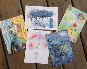 Postcard Set #2: 5 - 5x7 Art Postcards