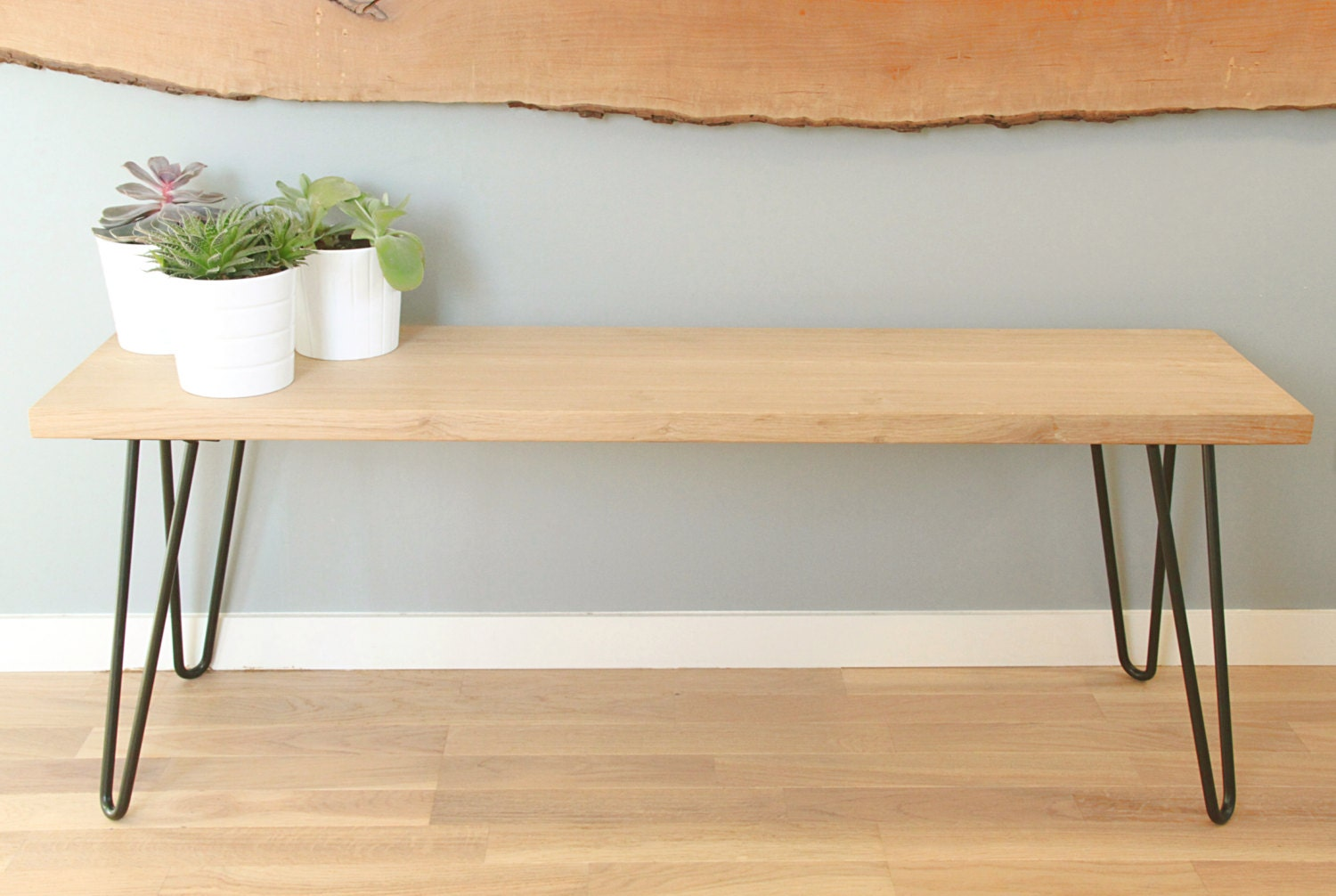 Bench Or End Of Bed In Solid Oak And Stell Hairpin Legs # Banc Bois Et Metal