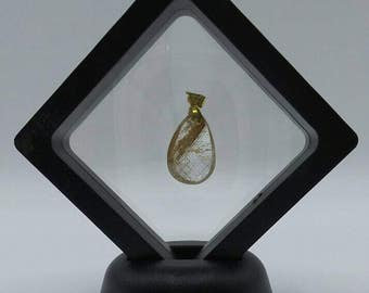 Golden Rutilated Quartz Teardrop Pendant.
