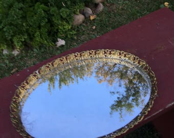Vintage Filigree Mirror Tray / Dresser Tray / silver Plated Vanity tray
