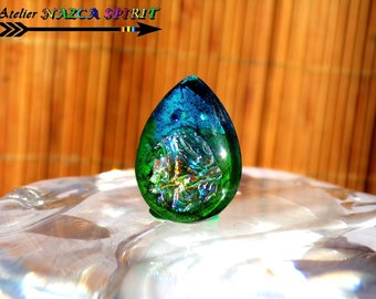 "Glass drop 2.5 cm x 1.8 cm (""0.98""0.70 x "") artisan Turquoise/green Iridescent coloring - creating Unique workshop Nazca Spirit"