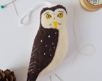 Felt owl decoration - boreal owl bauble - handmade owl decor - eco tree decoration