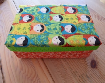 Matryoshka doll covered shoebox