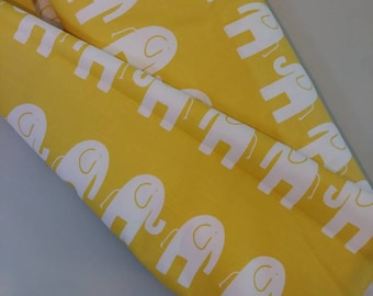 Cotton Canvas |Elephant Print| Upholstery Fabric | Yellow and White |  Upholstery| Interior Decor | Sewing| By the Yard