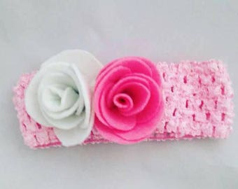 Rose Baby Headband, Children's Fashion, Hair Wear, Felt Roses, Pink Elasticated Hairband, Floral Kids Accessories, Gifts For Girls, Hair Bow