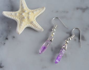 Raw Amethyst earrings, Raw quartz earrings, Raw crystal silver earrings, Amethyst lover, February birthstone, Amethyst earrings,Gift for her