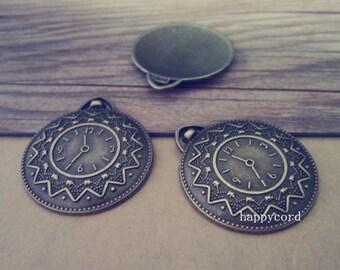 6pcs Antique bronze Clock pendant charm 32mmx37mm