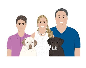 Personalized portrait. Custom family portrait. Illustrated family portrait. Family illustration. Memorable gifts. Digital file only.