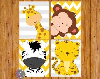 Jungle Animals Nursery Room Wall Art Giraffe Zebra Monkey Tiger Grey Yellow Stripes Chevron DIGITAL 8x10 JPG Files Instant Download