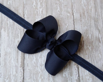Boutique Navy Headband Navy Big Bow Headband Navy Baby Headband Navy Toddler Headband Large Bow Headband New Baby Gift